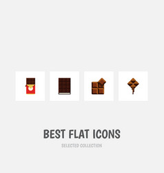 flat icon chocolate set of chocolate bar cocoa vector image