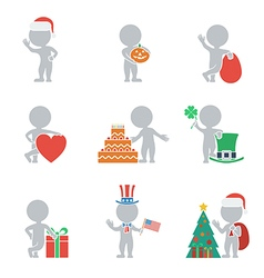 Flat people holidays vector