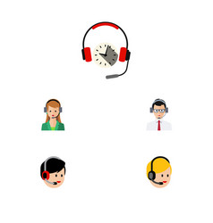 Flat telemarketing set of call center headphone vector