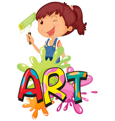 font design for word art with cute girl painting vector image