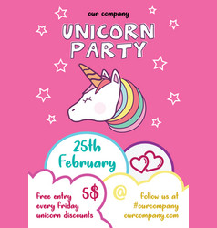 fun childish unicorn event flyer vector image