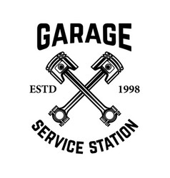 Garage service station emblem with crossed vector