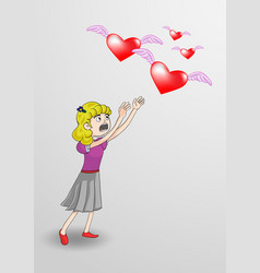 girl with heart wings vector image