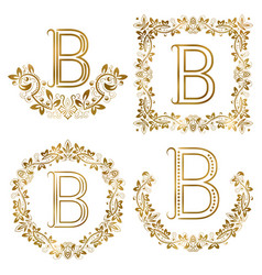 golden b letter ornamental monograms set heraldic vector image vector image