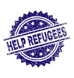 Grunge textured help refugees stamp seal vector