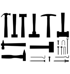 Hammers and nails vector image vector image