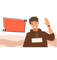 handsome guy waving his hand male character shows vector image