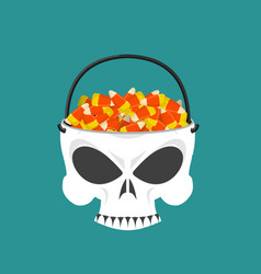 Happy halloween skull basket candy corn trick or vector