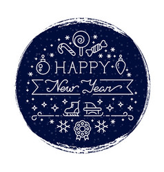 happy new year grunge banner with snowfall and vector image