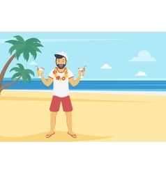 Happy young man enjoy on the beach and drinking vector