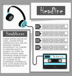 Headphones and audiocassette infographics vector