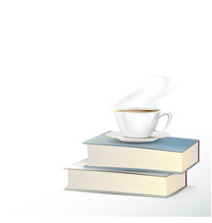 hot tea cup with books on white background vector image