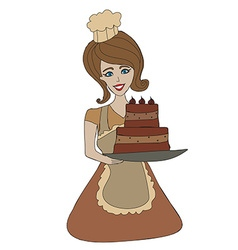 Housewife serving cake with cream vector image