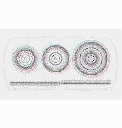 hud futuristic spin circles icon set vector image