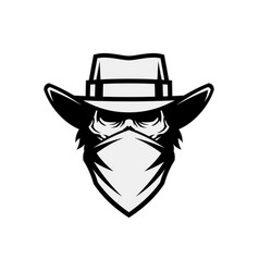 Human skull in mask and cowboy hat vector