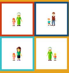 Icon flat family set of grandson gril grandma vector