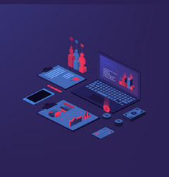 isometric accounting composition with isolated vector image