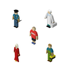 isometric people set of plumber guy female and vector image