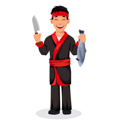 japanese chef cooking sushi rolls vector image