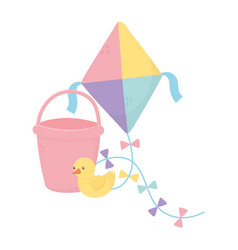 Kids zone toys kite bucket duck vector