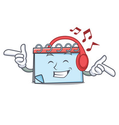 listening music calendar mascot cartoon style vector image