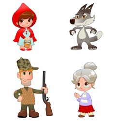 Little red hiding hoods characters vector