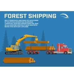 Loading felled trees in the timber crane vector