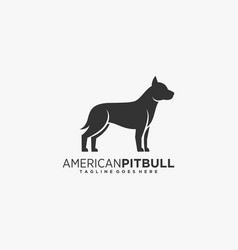 Logo american pit bull silhouette style vector