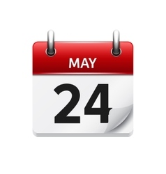 May 24 flat daily calendar icon Date and vector