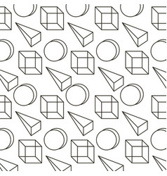 memphis style pattern 3d geometric triangle cube vector image
