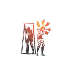 Mirror woman reflection inferiority vector