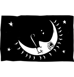 Moon Face and Rays vector