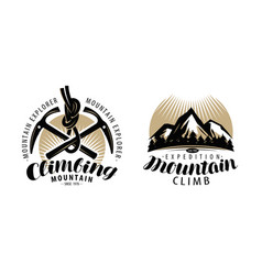 mountaineering climbing logo or label expedition vector image