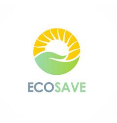 nature save care sun logo vector image