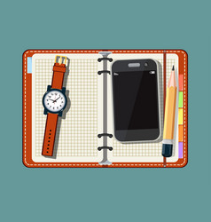 notepad smart phone and watch on vector image