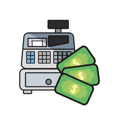 online shopping cash register money vector image
