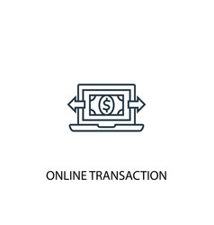 online transaction concept line icon simple vector image