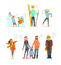 People in Winter and Activities vector image