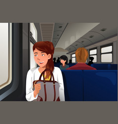 People traveling in train vector