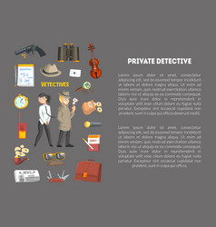 private detective banner template with place for vector image