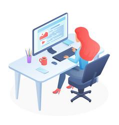 programming isometric woman vector image