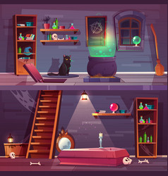 Quest background of witch house cellar vector