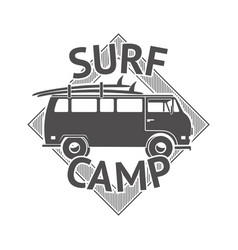 recreation surf camp badge surfing club sport vector image