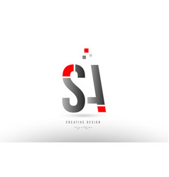 Red grey alphabet letter sa s a logo combination vector