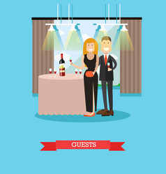 Restaurant guests in flat vector