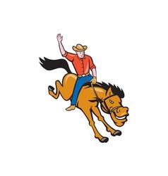 Rodeo cowboy riding bucking bronco cartoon vector