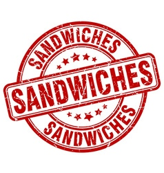Sandwiches red grunge round vintage rubber stamp vector