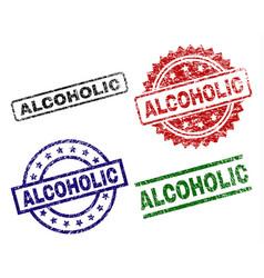Scratched textured alcoholic stamp seals vector