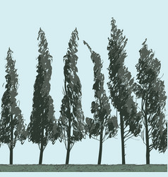 Seamless landscape with trees on blue sky backdrop vector