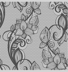 seamless pattern black lace background old vintage vector image